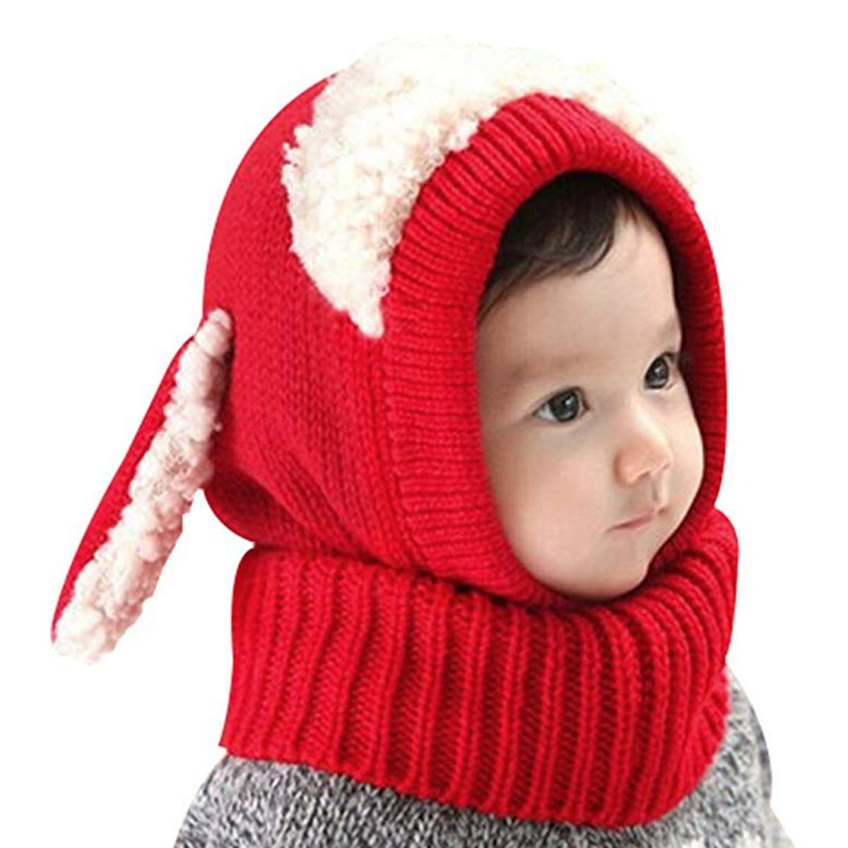 AUVSTAR Baby M/ädchen Jungen Kleinkind Winter Hut Schal Set Cutest Earflap Kapuze Warm Knit Hut Schals mit Ohren Schnee Halsw/ärmer Sch/ädel Kappe Kinder 6-36 Monate