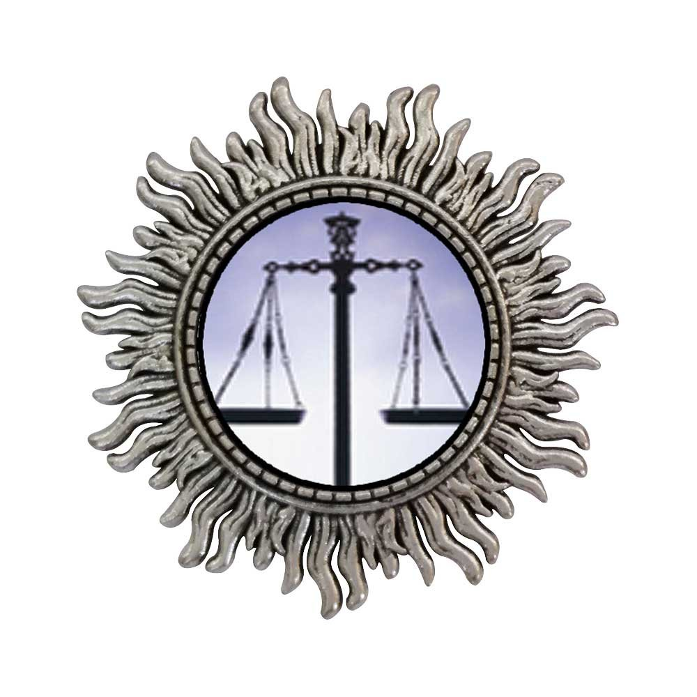 GiftJewelryShop Ancient Style Silver Plate Scales Of Law And Justice Sun Shape Pins Brooch