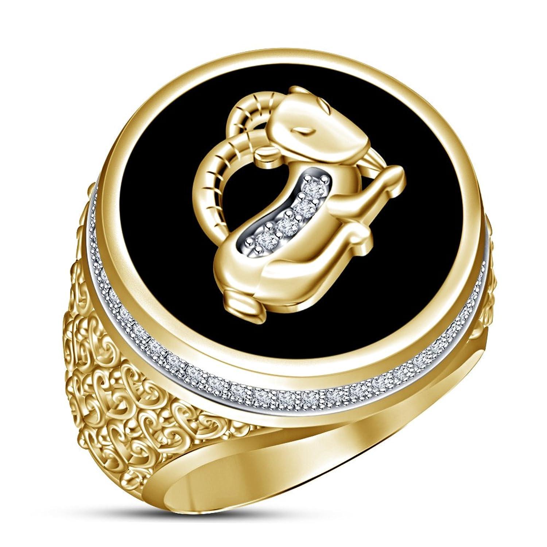 fc011ea52203 Moda Vorra negro esmalte caballo de hombre banda anillo 14 K chapado en oro  plata de