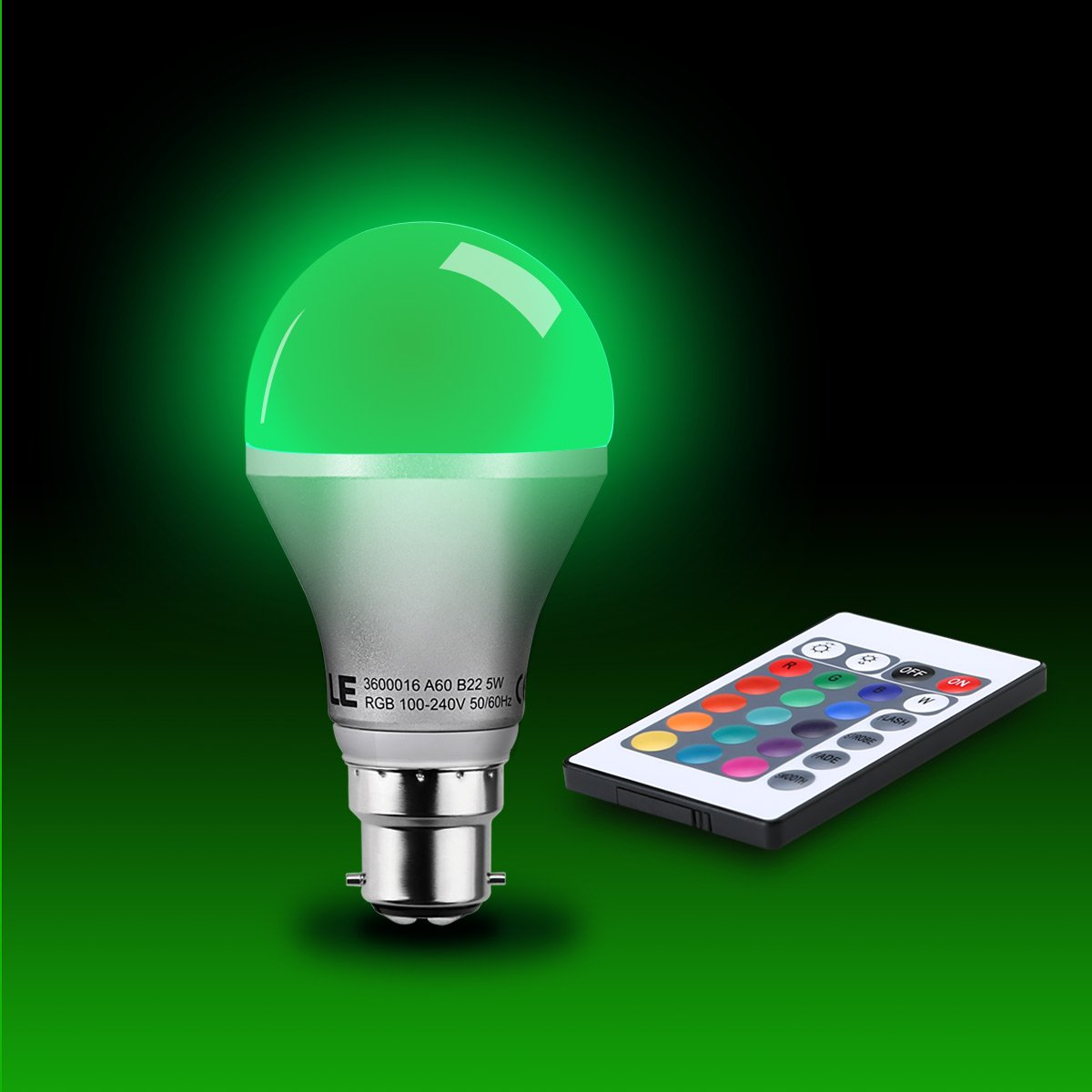 Le 5w a60 b22 dimmable rgb led bulbs 16 colour choices color le 5w a60 b22 dimmable rgb led bulbs 16 colour choices color changing remote controller included mood lighting bayonet led light bulbs parisarafo Image collections