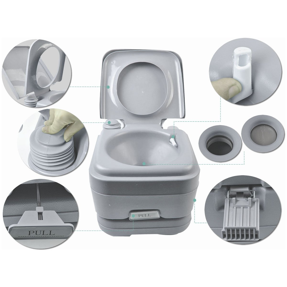Portable Toilet Travel Camping Outdoor Indoor Toilet Potty Flush 2.8 Gallon 10L by Caraya (Image #5)
