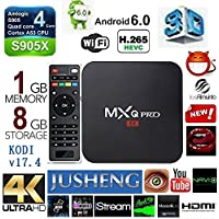 [2018 MODEL] KD V17.4 MXQ PRO Android 6.0 TV BOX 4K/64Bit/1+8GB/2.4G/5G Wifi/ UHD 4K/Full HD/H.265