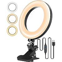 """ELEGIANT ringljus 6,3 """", stativljusring 3 ljusfärger + 10 ljusstyrkenivåer, 360 ° roterande bordslampa med fjäderklämma…"""