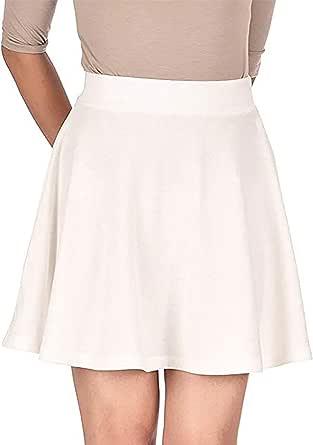 PrettyFashion Falda Mujer Elástica Plisada Básica Patinador Multifuncional Corto Falda