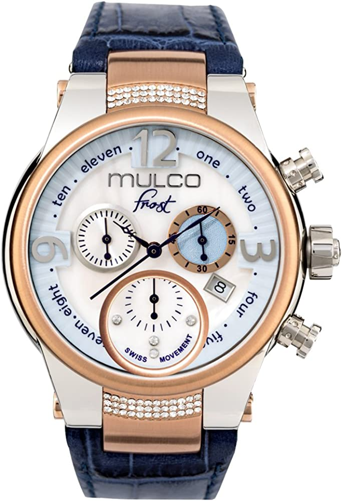 Mulco Frost Ladies Quartz Swiss Chronograph Movement Women s Watch Mother of Pearl Sundial with Rose Gold and Swarovski Accents Blue Watch Band Water Resistant