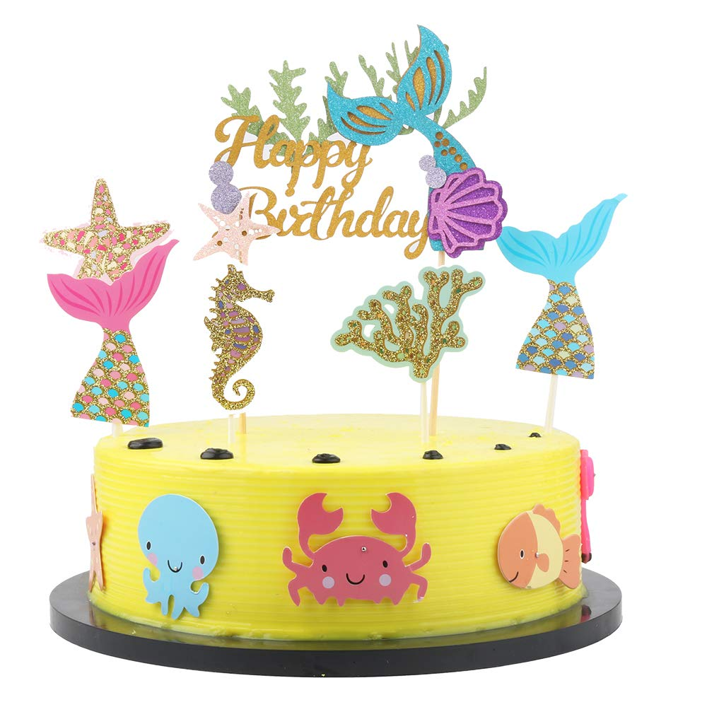 Happy birthday cake topper Coral party cake ornament-Starfish Mermaid and Starfish Hippocampus 6pcs Birthday Cake Topper Fishtail Birthday Party Ornaments