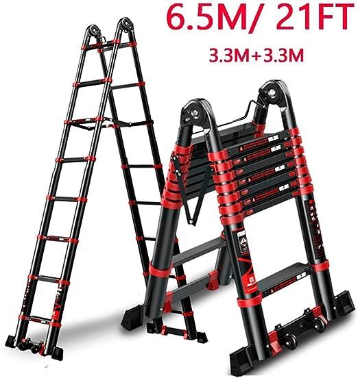 ZAQI Escalera Extensible Escalera telescópica Escalera retráctil con Ruedas y Barra estabilizadora, Escalera de extensión Resistente de Aluminio Negro para escaleras/Loft/Tienda Superior de Techo/CAM: Amazon.es: Hogar