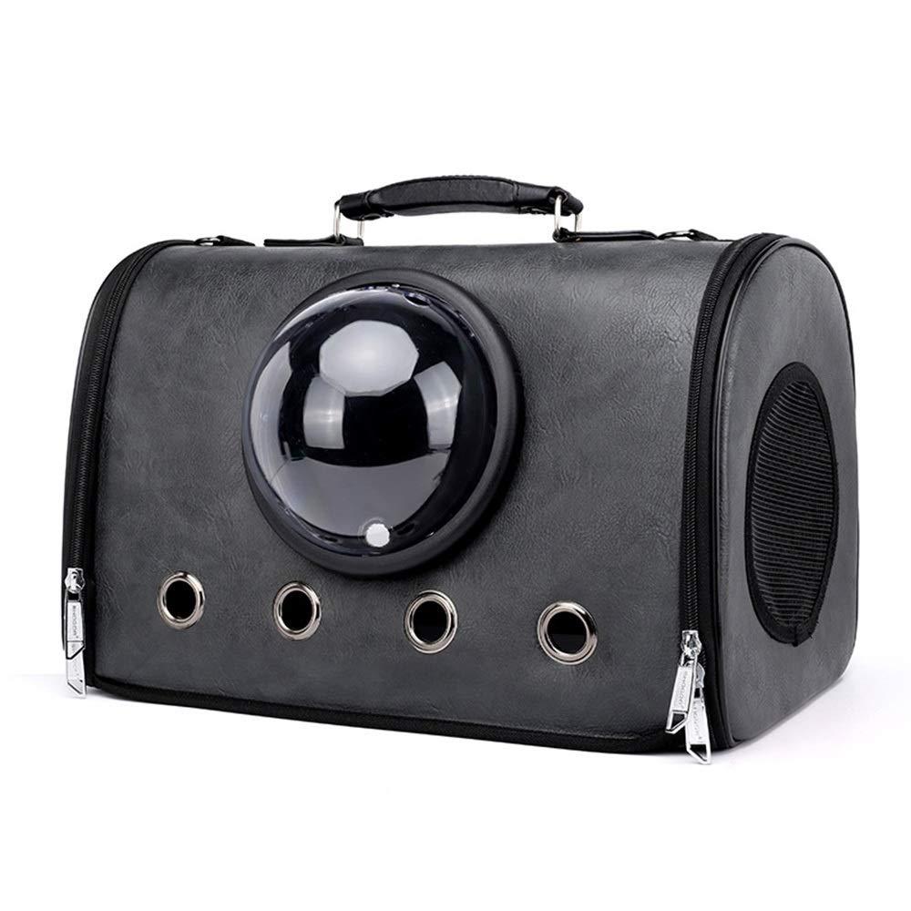 Black 432329cm Black 432329cm FELICIPP Cat Out Of Space Capsule Backpack Pet Bag Carrying Bag PU Breathable Pet Handbag (color   Black, Size   43  23  29cm)