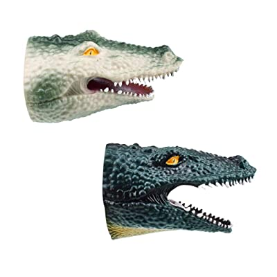 Toyvian 2pcs Hand Puppets Crocodile Toy Animal Head Finger Toy Sea Animal Toy Funny Role Play Toy for Children Kids Toddler (Grey+Blackish Green): Toys & Games