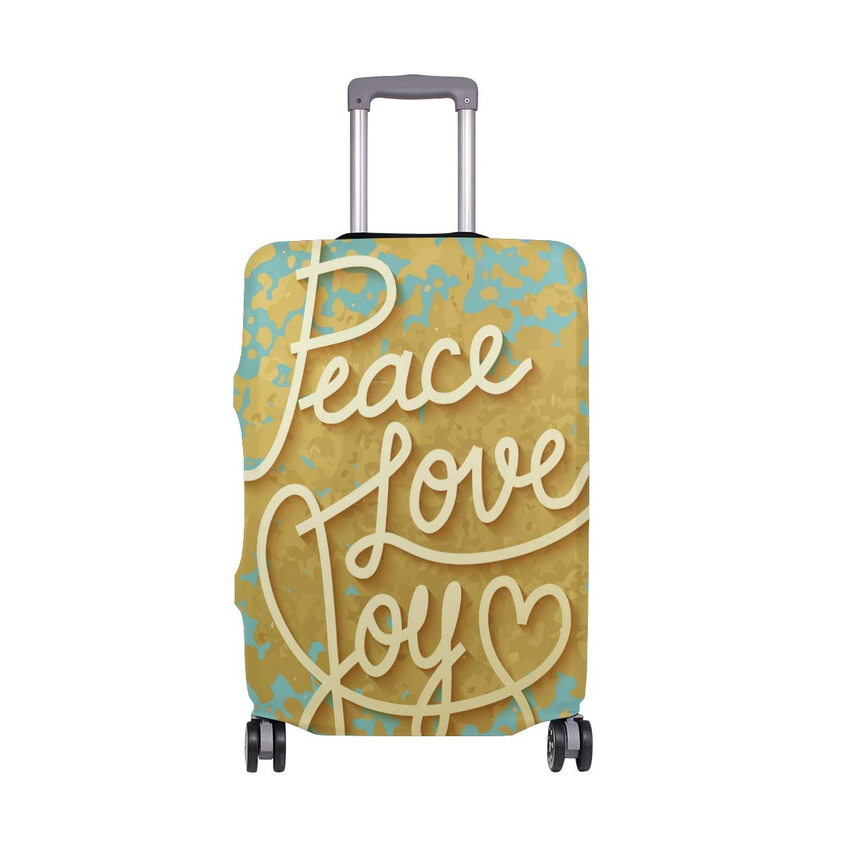 My Daily Peace Love Joy Luggage Cover Fits 24-26 Inch Suitcase Spandex Travel Protector M