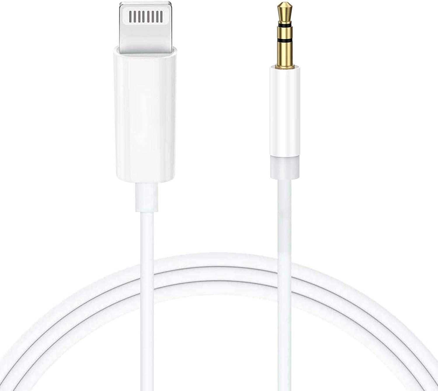 [Apple MFi Certified] Aux Cord for iPhone, Lightning to 3.5mm Stereo Audio Aux Cable for Car Compatible with iPhone 11/11 Pro/XS/XR/X/8/7/SE/iPad to Car/Home Stereo, Speaker, Headphone - 3.3FT, White