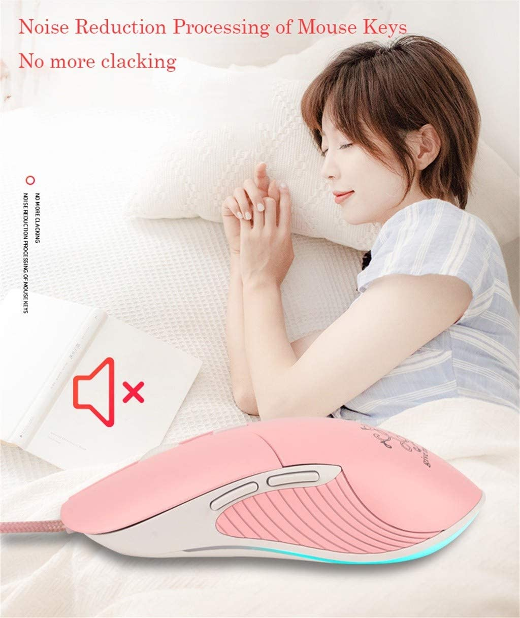 sakd USB Wired Mouse Pro Gaming Mice Optical 7 Colors LED Backlight Girl Moon Cartoon Optics Computer Games for Laptop PC Gamer