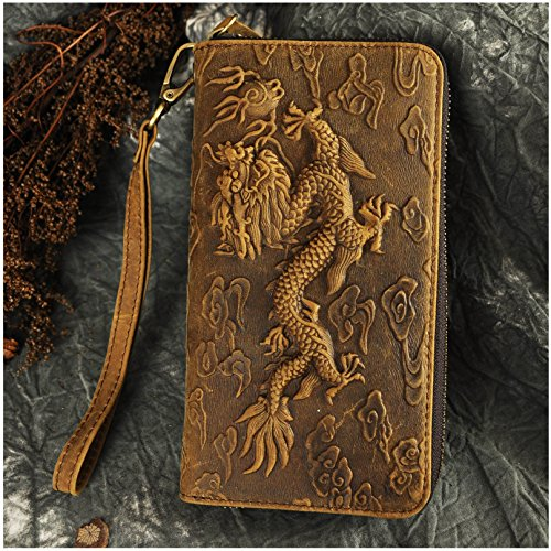 Le'aokuu Unisex Genuine Leather Bifold Wallet Purse Organizer Dragon Embossed (Brown)
