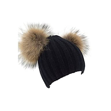 6553c0310ad Funoc Beanie Hat with Adjustable Faux Fur Pom Poms Winter Thick Knit Hat  for Women (Black)  Amazon.co.uk  Clothing