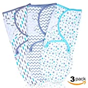 Baby Swaddle Wrap for Newborn | Breathable Plush Cotton With Adjustable Fastener Straps | 3 Set of Unisex Colors And Patterns | Keep Your Infant Safe, Comfy & Warm | 0-3 Month (Small/Medium)