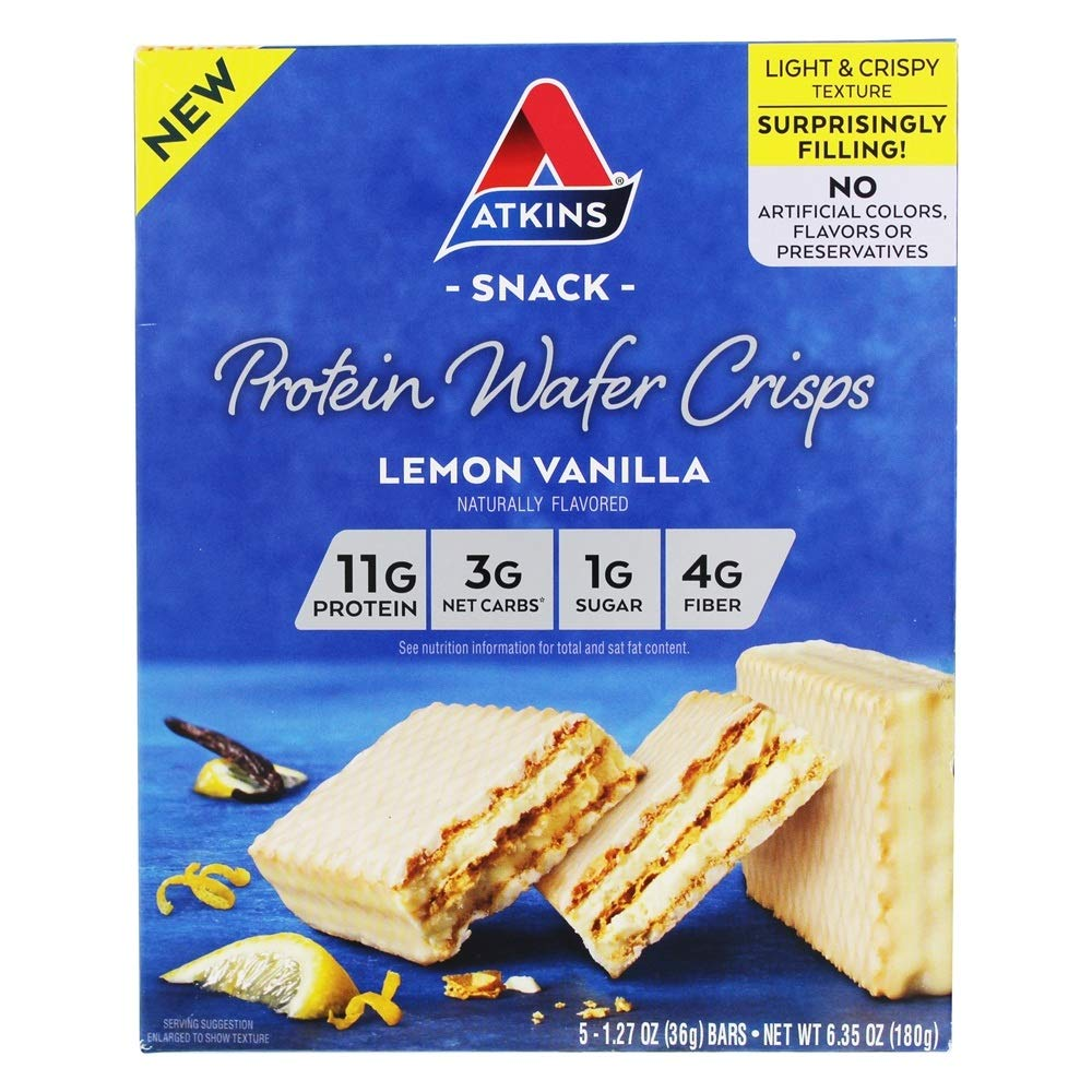 Atkins Protein Wafer Crisps - Lemon Vanilla (Pack of 16)