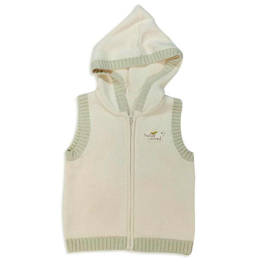 Naturecolored kids toddler Knitted Vest naturally colored cotton. Natural. 6 year.