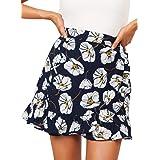 f3a2d7712ec205 LeeY Frauen Mode Strand Blumen Elastisch Taille Datei Rüsche Kurze Röcke  Damen Sommer Beiläufig Blumen Mini
