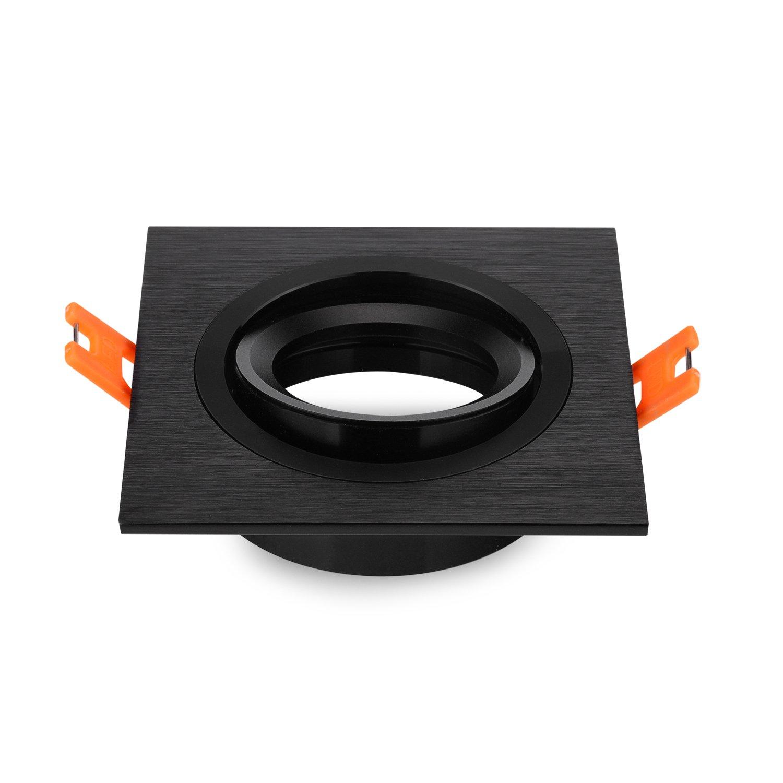 Pack of 2 Recessed Downlight Recessed Spotlight Metal Square Light Frame Square Fixture Holders Adjustable Cutout 70mm for LED Halogen GU10, 230 V, 12 V MR16