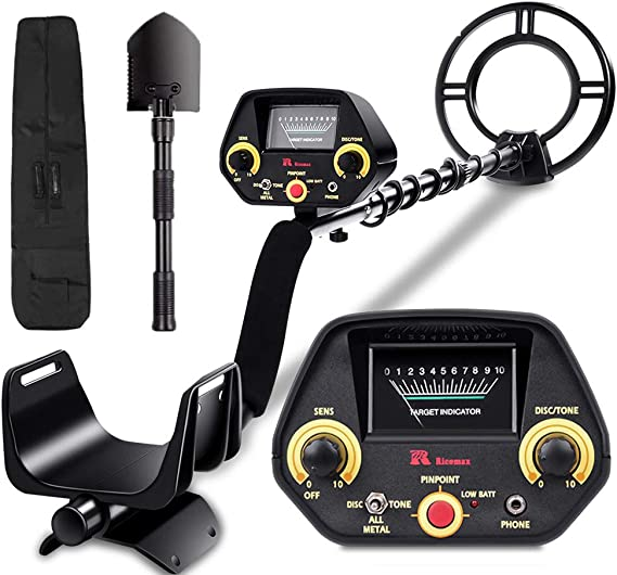 RM RICOMAX Metal Detector for Kids & Adults - Waterproof Metal Detector Adjustable Gold Detector for Adult & Kids [Pinpoint Function & All Metal Mode] with Headphones Jack High-Accuracy & Easy to Use