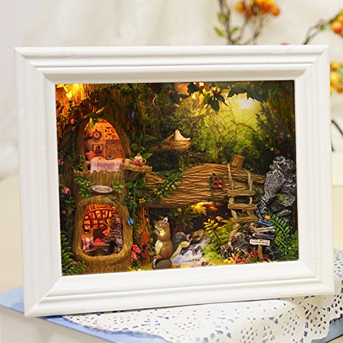 Flever Dollhouse Miniature DIY House Kit Creative Room with Furniture for Romantic Valentines Gift(Squirrel s Home-White)