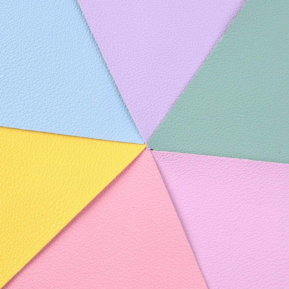 Litchi Pattern Synthetic Leather A5 Plain Coloured Faux Leather Sheets 6 Pcs 5.9x8.2 for Leather Earring,Bows,Crafts DIY,Decorations 15cm x 21cm Litchi Pattern