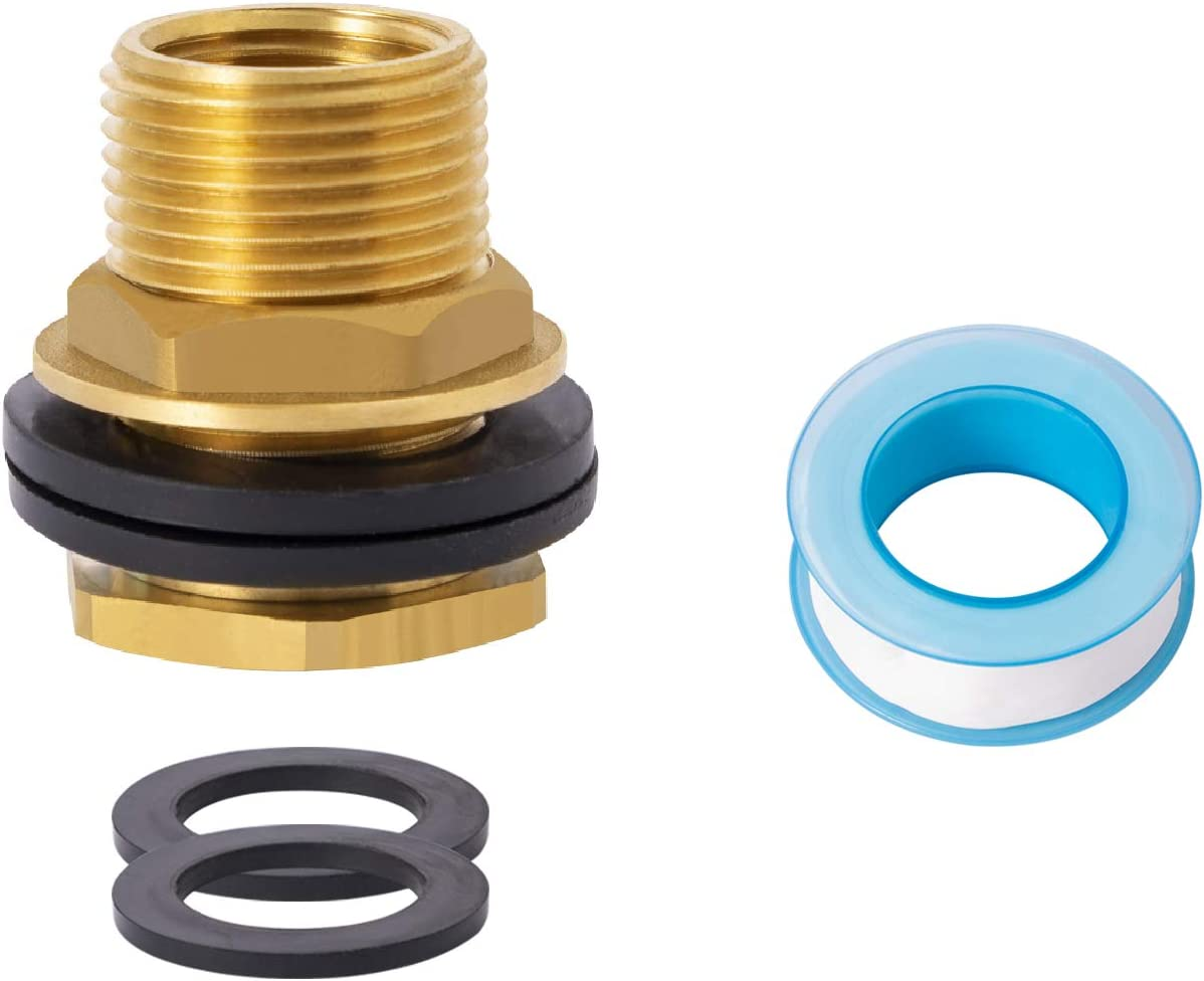 """SUNGATOR Water Bulkhead Tank Connector Lead Free brass, 1/2"""" Female Thread and 3/4"""" Male Garden Hose Threaded with Extra 2-Piece Rubber Rings and 1 Sealing Tape"""