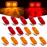 Tinpec 14 x LED Trailer Marker Lights with Double Bullseye 10 Diodes Waterproof Clearance Lights Rectangular Universal Side Marker Lights for Trucks, RVs, SUV, Boat, etc (7 Red+7 Amber)