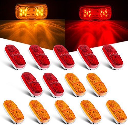Tinpec ProCar 14x Trailer Marker LED Light Double Bullseye 10 Diodes Clearance Light Red/Amber