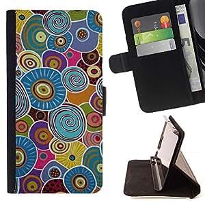 For LG G3 Case , Azul Botón abstracto amarillo- la tarjeta de Crédito Slots PU Funda de cuero Monedero caso cubierta de piel