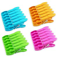 JABINCO Colorful Plastic Clothespins, Heavy Duty Laundry Clothes Pins Clips with Springs, Air-Drying Clothing Pin Set(24…