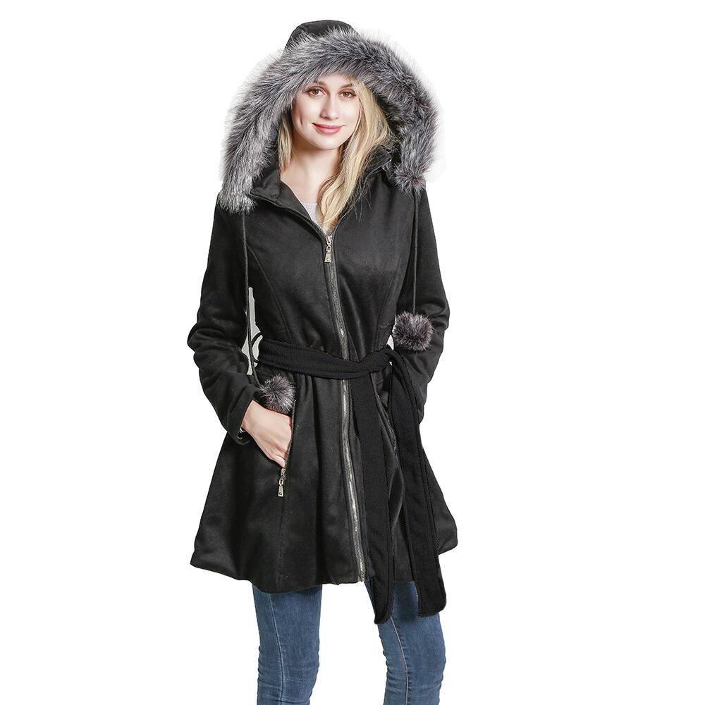 KENGURU COVE Women's Wool Trench Coat Lapel Wrap Swing Winter with Removable Fur Collar Long Overcoat Jacket(Black,L)