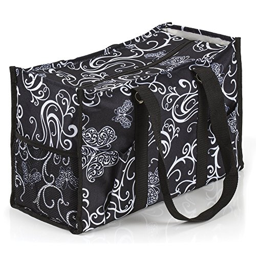 All Purpose Utility Tote Bag  17  L X 11  H X 6  D  Butterfly Swirl