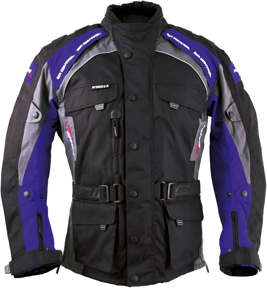 Schwarz//Blau Gr/ö/ße Roleff Racewear 7835 Liverpool Motorradjacke XL