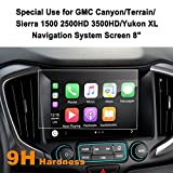GMC Canyon/Terrain/Sierra 1500 2500HD 3500HD/Yukon XL 8-Inch Car Navigation Screen Protector,LFOTPP [9H Hardness] Tempered Glass Center Touch Screen Protector Anti Scratch High Clarity