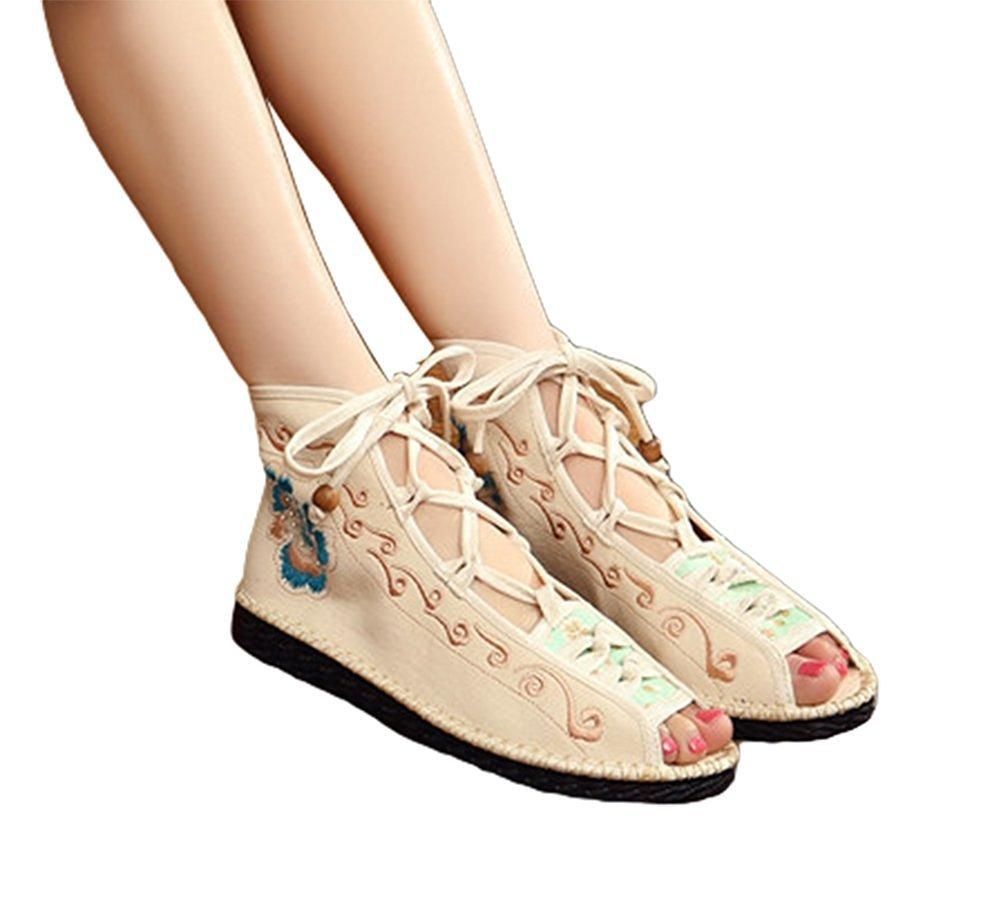 Kool Classic Women's Embroidery Open Toe Lace-up Gladiator Roman Flats Sandal B06XW6X9XQ 35 M EU=5.5 B(M) US|Style Beige