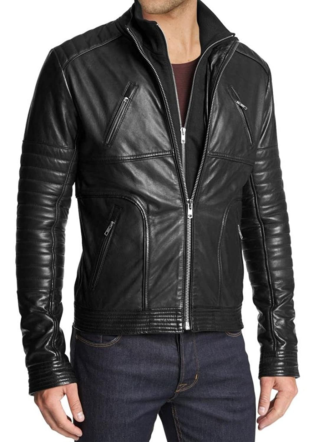 Men Leather Jacket Biker Motorcycle Coat Slim Fit Outwear Jackets AUK088