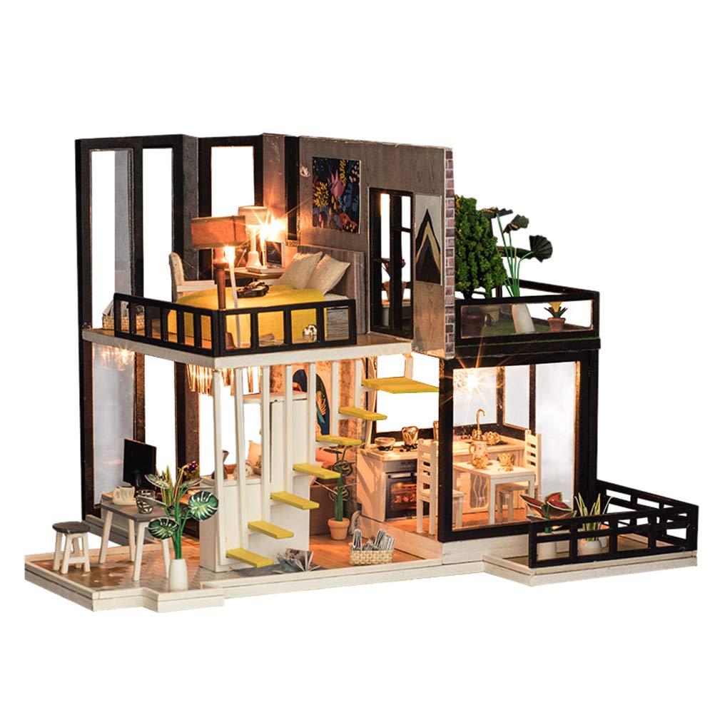 Toyvian Casa de muñecas en Miniatura Modelo de ensamblaje Hecho a Mano para el Kit de la casa de Bricolaje con Accesorios de Muebles para niños, Amantes y Amigos