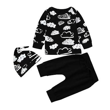 d80eaa743716 Amazon.com  Cloud Print Shirt Blouse Tops+Pants Outfits Bodysuit ...