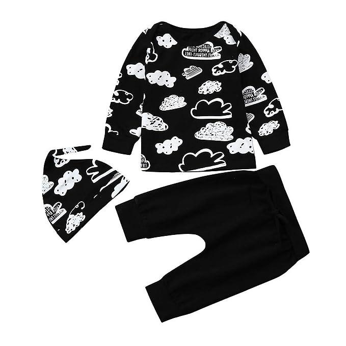 YanHoo Ropa de niños Doodle de la Nube Infantil Top + Pantalones + Sombrero de Tres Piezas Recién Nacido bebé niña niño niña Nube Camiseta Impresa Trajes ...
