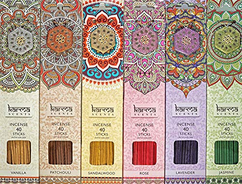 Karma Scents Premium Incense Sticks 6 Set Pack, Lavender, Patchouli, Vanilla, Sandalwood, Jasmine, and Rose. Each Pack Comes with a sparkley Holder in Each Box 240 Sticks