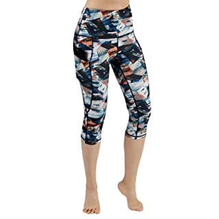 ODODOS High Waist Out Pocket Printed Yoga Capris Pants Tummy Control Workout Running 4 Way Stretch Yoga Leggings,FineArt,Large