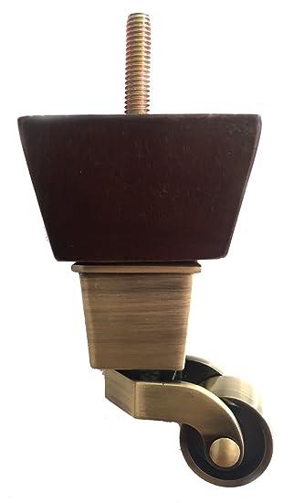 Attirant 4u0026quot; Dark Finish Walnut Mid Century Sofa Leg With Brass Wheels Casters  And Screw (