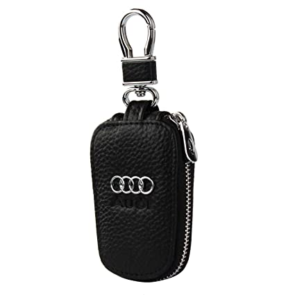 car Key Chain Keychain,Genuine Leather Car Smart Key caseKey Chain Keychain Holder Metal Hook and Keyring Zipper Bag for Remote Key Fob (Audi)