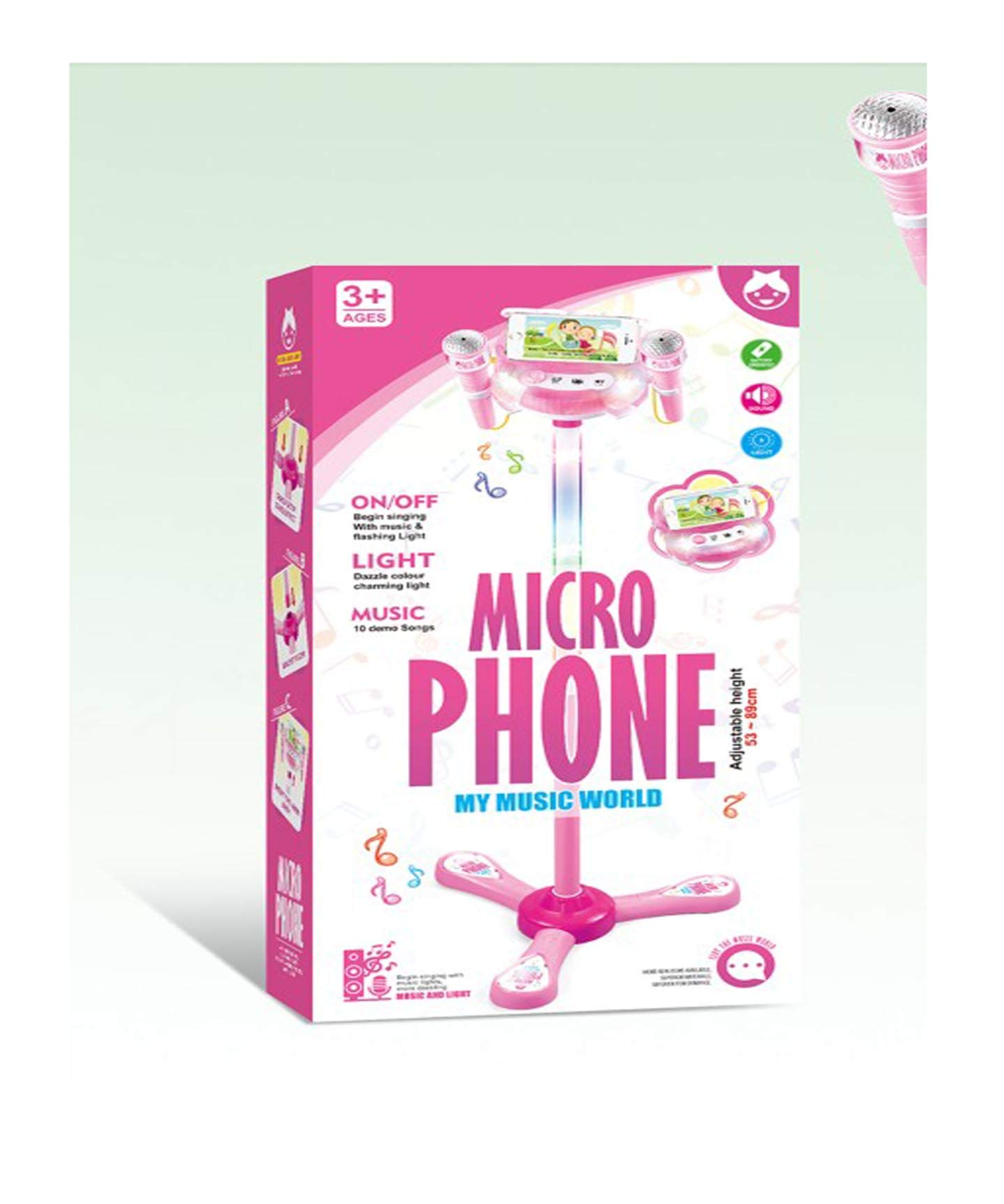 Elrido Kids Karaoke Machine with 2 Microphones and Adjustable Stand, Karaoke Machine Compatible with Cell Phone/MP3,Music Sing Along with Touch Button for Fun Musical Effects (Pink)