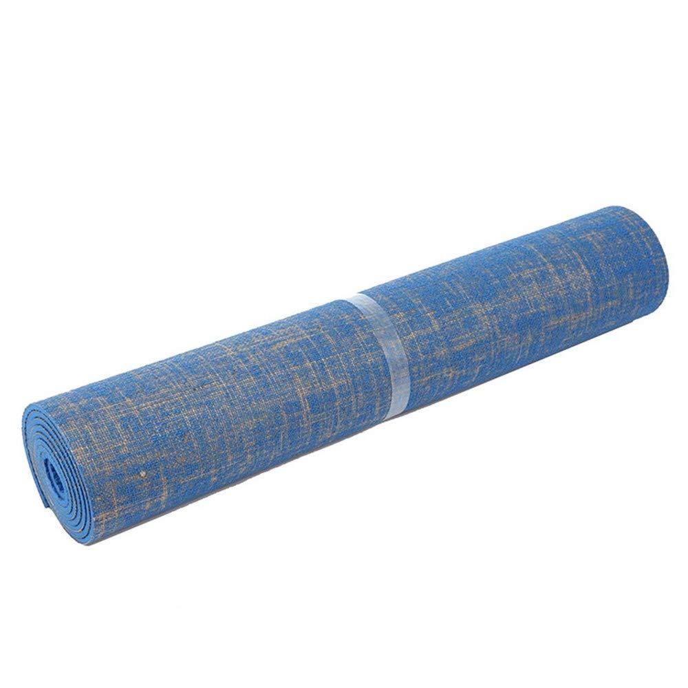 YOOMAT PVC Leinen 183  61cm Lange Rutschfeste feuchtigkeitsBesteändige Fitness-Yoga-Matte 5MM blau