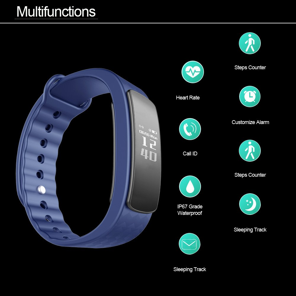 Amazon.com: Waterproof Health Smart Bracelet Bluetooth 4.0 Pedometer Wristband Pedometer Fitness Monitor Activity Health Tracker Watch Sleep Monitor Watch ...