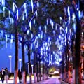 Outdoor Lights,LED Meteor Shower Rain Lights , Waterproof Garden Lights 30cm 8 Tubes 144leds Snow Falling Raindrop Icicle Cascading light for Holiday Wedding Xmas Tree Decor
