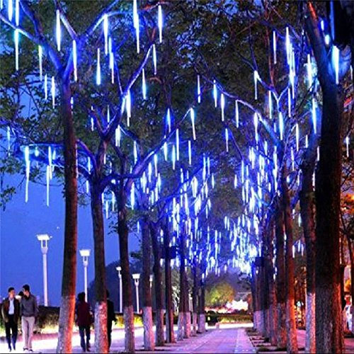 LDUSA HOME LED Meteor Shower Rain Lights,Outdoor String Lights, Waterproof Garden Lights 30cm 8 Tubes 144leds Snow Falling Raindrop Icicle Cascading Light for Holiday Wedding Xmas Tree Decor (Blue) ()