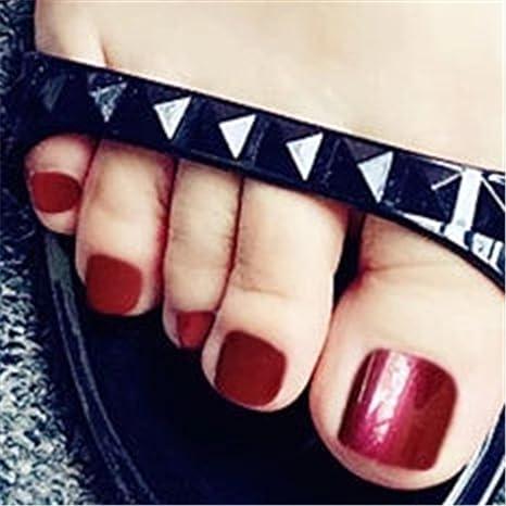 BloomingBoom 24Pcs Falsa Uña Dedo del Pie Completo Fake Nail Complets Impreso Manicura Nail Art Tips ...